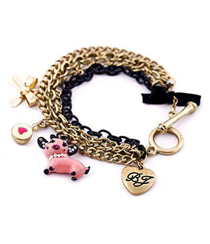 Multi Chain Pig Heart Charm Bracelet C19 Gold Tone Bow To... www.amazon.com/...