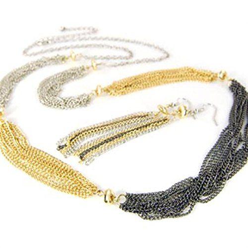 Multi Strand Necklace Earrings Set D8 Silver Gold Hematit... www.amazon.com/...