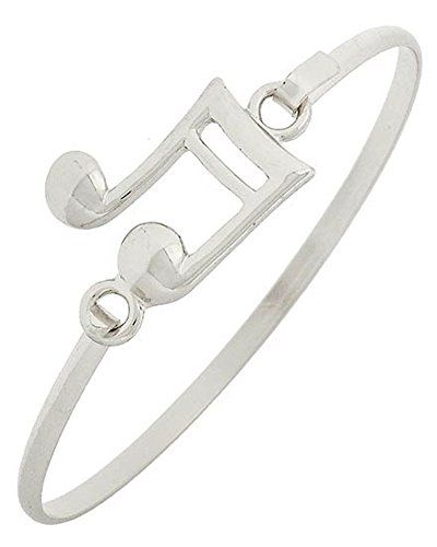 Music Note Bracelet Z12 Bangle Hook Closure Silver Tone Recyclebabe Bracelets ww...