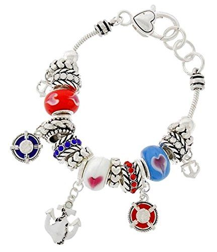 Nautical Charm Bracelet D9 Red White Blue Murano Glass Beads Silver Tone Recycle...