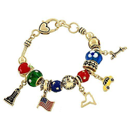 New York Charm Bracelet BS Gold Tone Murano Glass Beads R... www.amazon.com/...