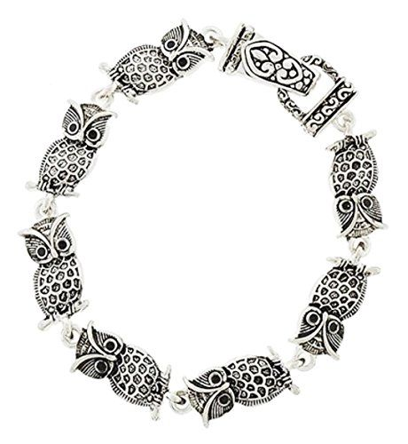 Owl Charm Bracelet Z16 Ornate Burnish Silver Tone Magnetic Fold Over Clasp Recyc...