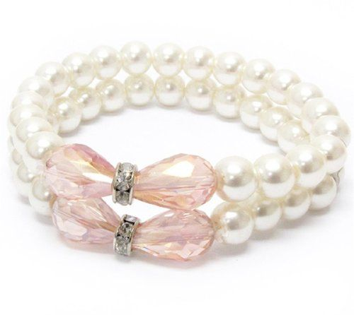 Pearl and Pink Crystal Stretch Bracelet BD Lovely Wedding... www.amazon.com/...