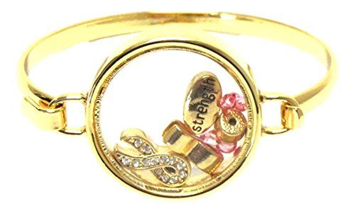 Pink Ribbon Bangle Bracelet C52 Floating Charms Crystal Gold Tone Recyclebabe ww...