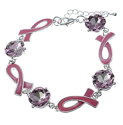 Pink Ribbon Bracelet H6 Pink Glass Stone Silver Tone Canc... www.amazon.com/...