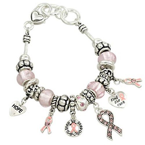 Pink Ribbon Charm Bracelet BY Pink Crystal Murano Glass B... www.amazon.com/...