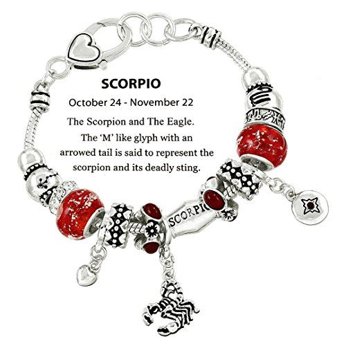Scorpio Charm Bracelet C52 Clear Crystal Light Red Murano Glass Zodiac Scorpion ...