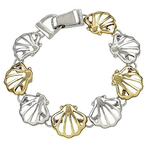 Seashell Magnetic Bracelet C13 Silver Gold Tones Fold Over Recyclebabe www.amazo...