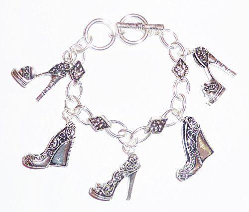 Shoe Charm Bracelet Z4 Marcasite Look High Heel Pump Wedge Recyclebabe Bracelets...