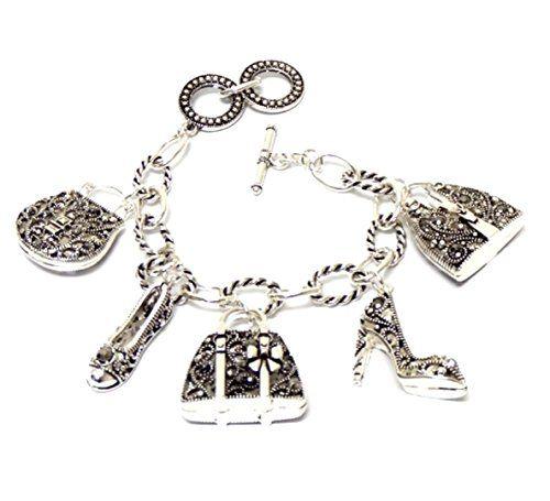 Shoe Handbag Charm Bracelet Z10 Crystal Silver Tone Purse... www.amazon.com/...