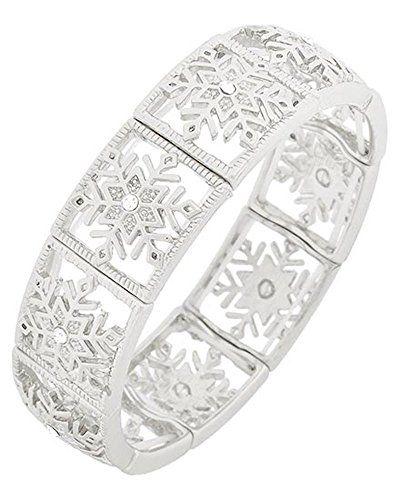 Snowflake Stretch Bracelet Z12 Clear Crystal Silver Tone Bangle Recyclebabe Brac...
