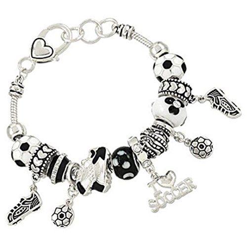 Soccer Charm Bracelet BU Black White Murano Glass Beads S... www.amazon.com/...