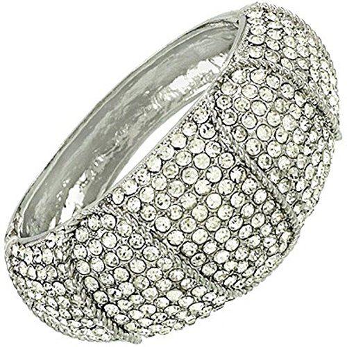 Stunning Clear Crystal Hinged Bracelet Wide Cuff Bangle S... www.amazon.com/...