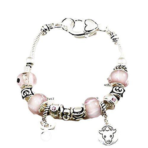 Taurus Charm Bracelet Murano Beads April May C04 Rose Pin... www.amazon.com/...