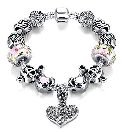 Treble Clef Heart Music Bracelet C15 Murano Glass Bead Cr... www.amazon.com/...