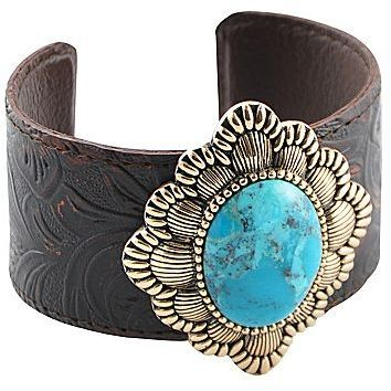 Art Smith by BARSE Genuine Turquoise & Smoky Leather Cuff Bracelet