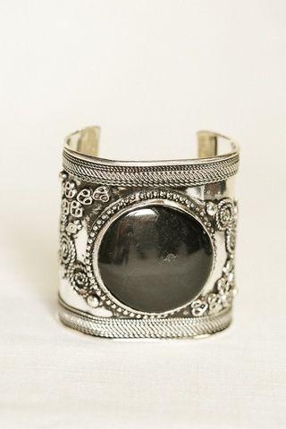Beautiful, black-stoned bohemian, cuff bracelet.