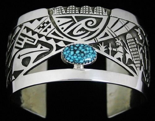 Chalmers Day Kingman Spiderweb Turquoise Corn Clan Design Overlay Bracelet   eBa...