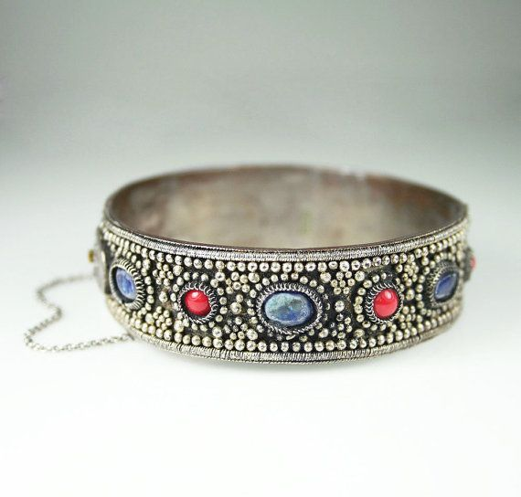 Chinese Export Bracelet Lapis Coral Silver Plated by zephyrvintage