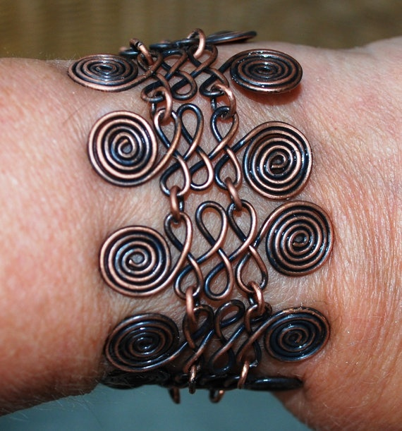Copper Bracelet Egyptian Coil Copper Jewelry  $30