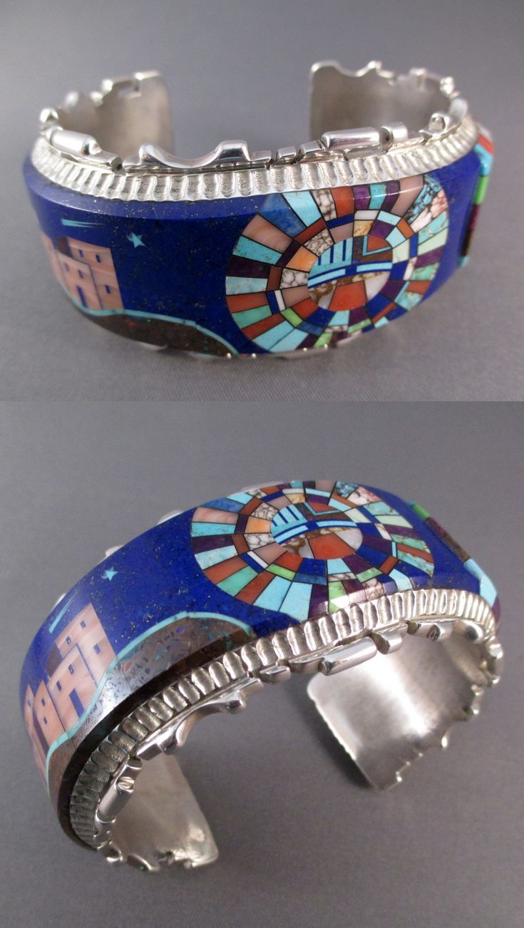 Cuff   Alvin Yellowhorse (Navajo).  Sterling silver with inlay including lapis, ...