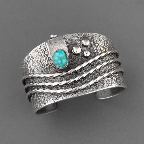 Cuff   Monty Claw (Navajo). Sterling Silver, Natural Kingman Water Web Turquoise...