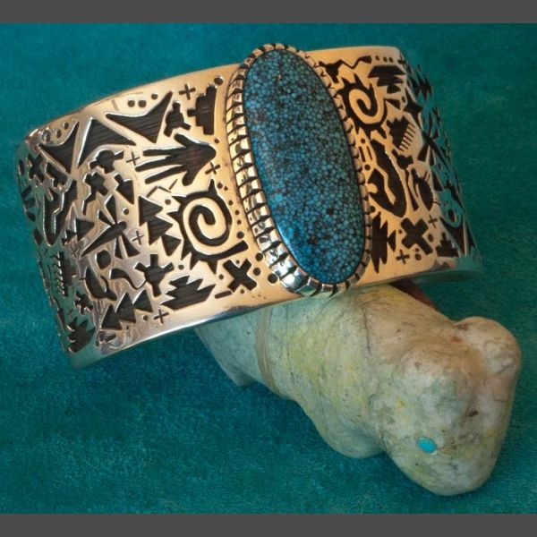 Kee Yazzie Silver Bracelet with Kingman Turquoise