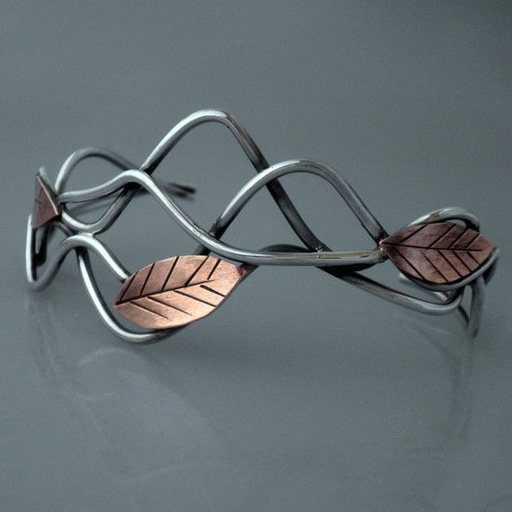 LEAF CUFF: silver, copper