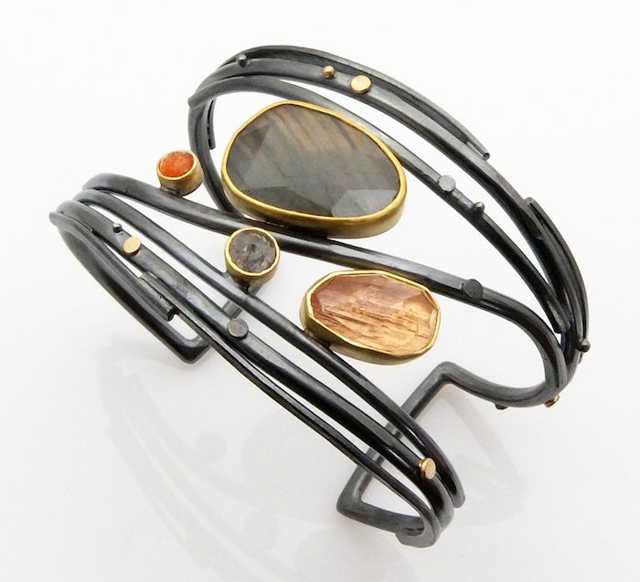 Labradorite & Topaz Twig cuff by Sydney Lynch