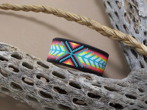 Native American Beaded Chevron Leather Bracelet With Soft Sunset Colors Of The S...