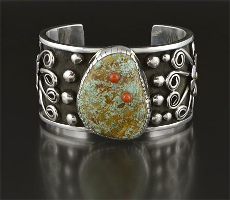 Silver & Turquoise Bracelet by Wilma Hunter (Navajo)