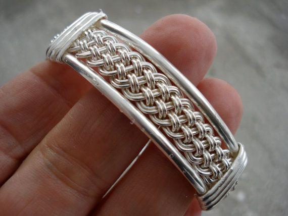 Viking Inspired Sterling Silver Weave Bangle Petite