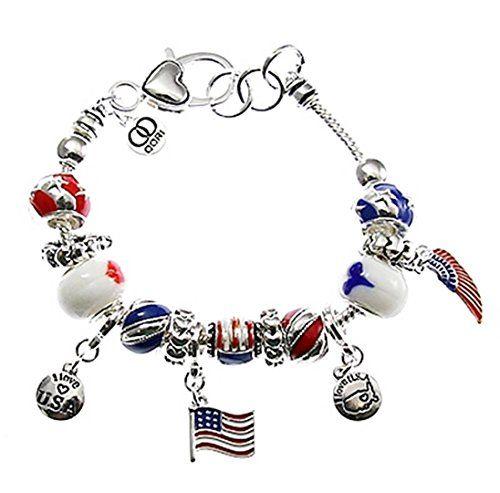 USA Charm Bracelet H2 Red White Blue Murano Glass Beads A... www.amazon.com/...