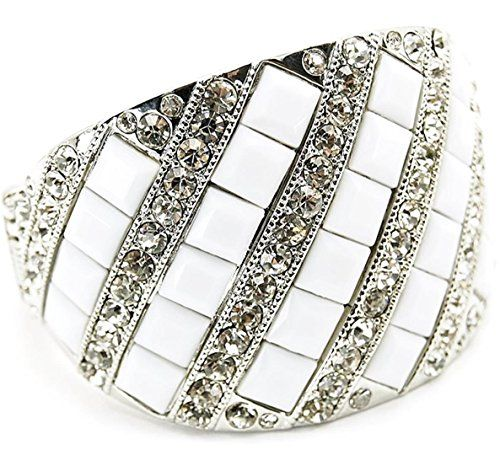 Wide Bangle Bracelet C56 Hinged Clear Crystal White Stones Silver Tone Recycleba...