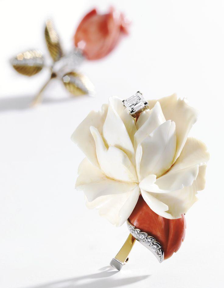 18 KARAT GOLD, PLATINUM, IVORY, CORAL AND DIAMOND BROOCH, CARTIER,