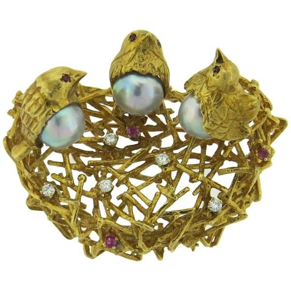 18k Gold Pearl Ruby Diamond Bird Nest Brooch Pin
