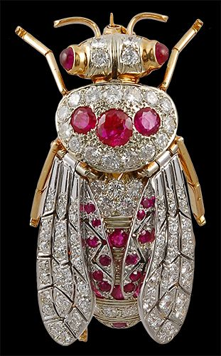 18kt. Gold Ruby and Diamond Bug Brooch - Yafa Jewelry