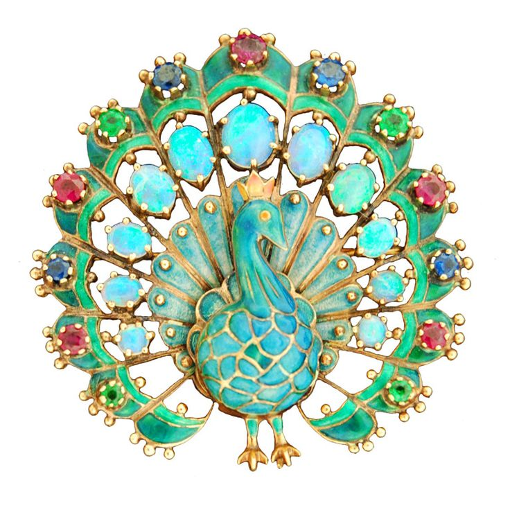 1940s Large Enameled Peacock Opal Gold Brooch