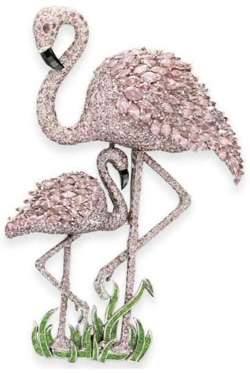 A COLORED DIAMOND AND DEMANTOID GARNET FLAMINGO BROOCH, BY CARVIN FRENCH
