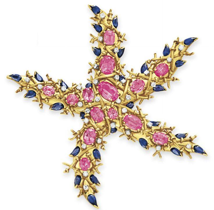 A TOURMALINE, SAPPHIRE AND DIAMOND STARFISH BROOCH, BY JEAN SCHLUMBERGER  Design...