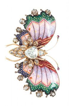 A Victorian Yellow Gold, Diamond and Polychrome Enamel Butterfly Brooch