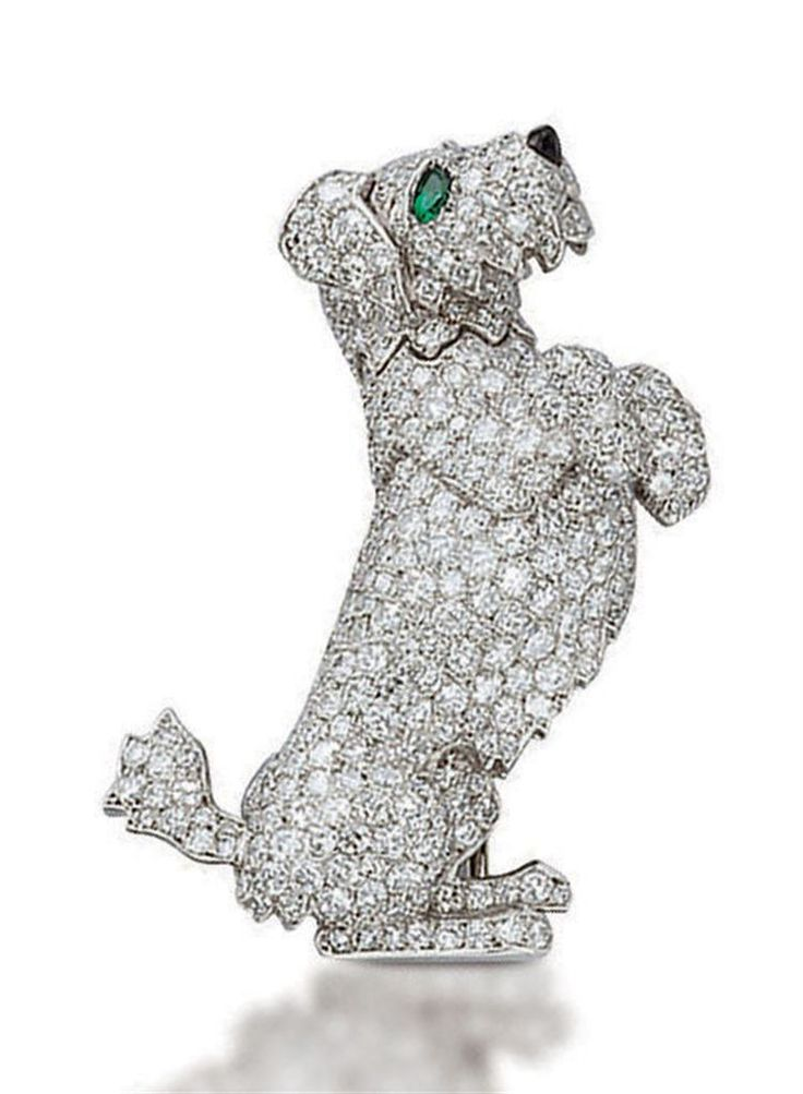 AN UNUSUAL DIAMOND DOG BROOCH, BY CARTIER Con meccanismo nascosto che lo fa muov...