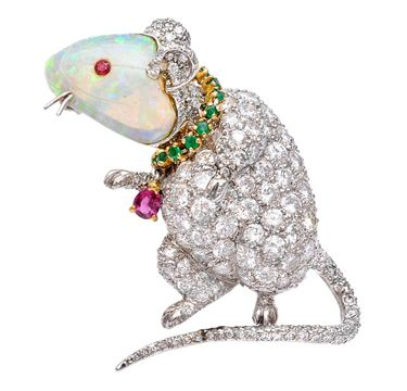 An Opal, Emerald, Ruby and Diamond 'Mouse' Brooch, by Verdura, circa 1972. Via F...