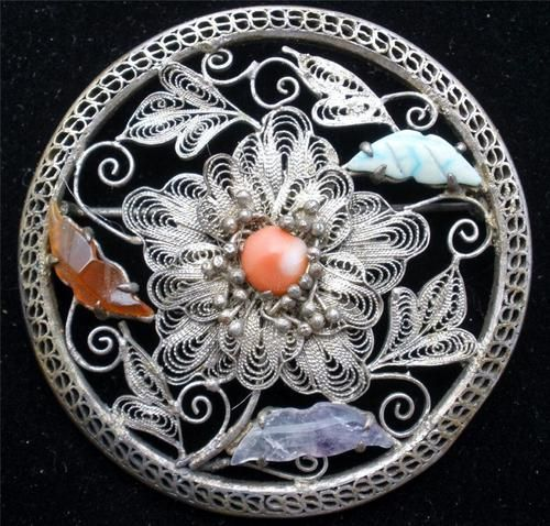 Antique Chinese Export Filigree Brooch Gemstone Silver Carnelian Coral Amethyst ...
