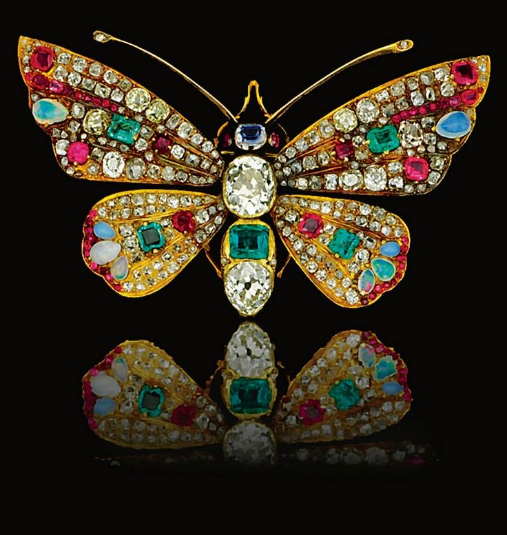 Antique Gemstone and Diamond Brooch, circa 1900. Designed as a Butterfly, the he...