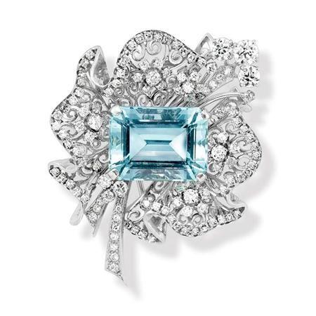 Aquamarine and Diamond Clip-Brooch   Platinum, the ruffled openwork bow centerin...