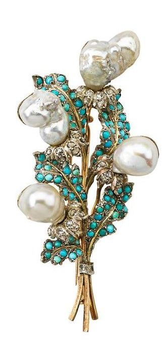 BUCCELLATI JEWELED GOLD BOUQUET BROOCH - Baroque pearl flower heads and white go...