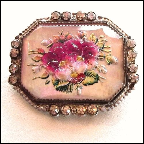 Bavarian Antique Glass Pansy Brooch.