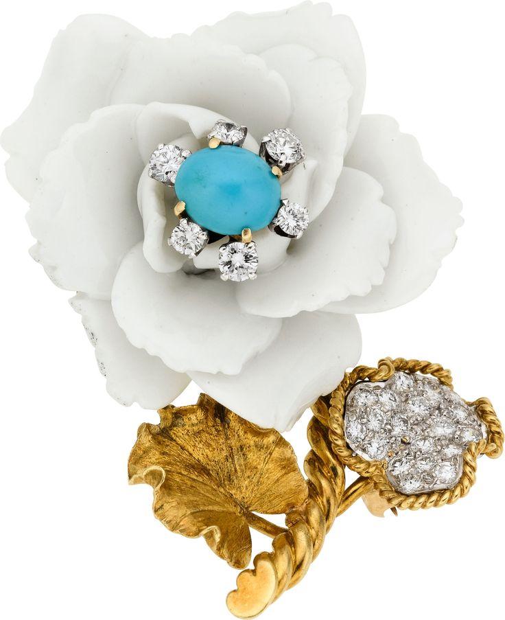David Webb Turquoise, Porcelain, Diamond, Platinum & Gold Brooch