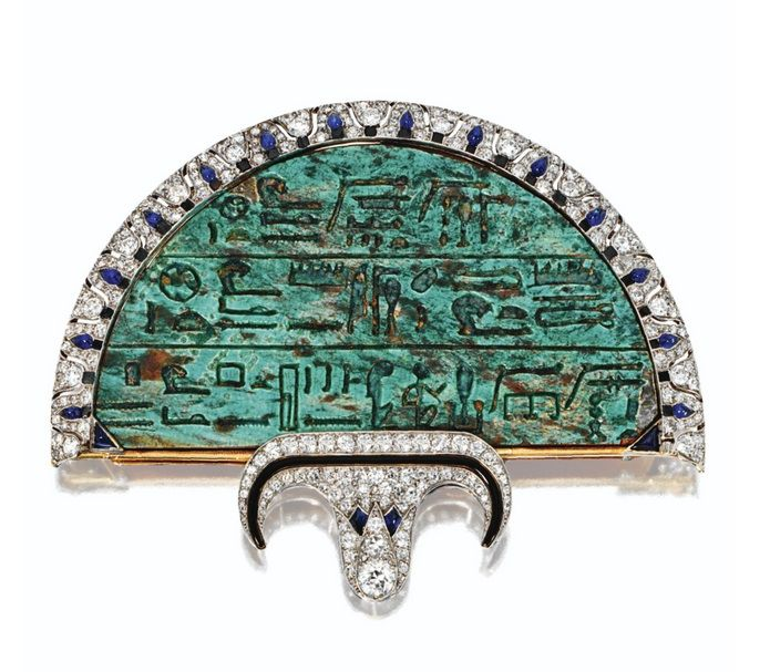 EGYPTIAN-REVIVAL JEWELED FAN BROOCH, CARTIER, LONDON, 1923